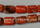CDI756 15.5 inches 10*14mm rectangle dyed imperial jasper beads