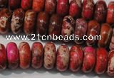 CDI775 15.5 inches 6*14mm rondelle dyed imperial jasper beads