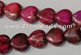 CDI792 15.5 inches 12*12mm heart dyed imperial jasper beads