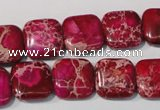 CDI794 15.5 inches 14*14mm square dyed imperial jasper beads