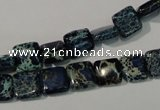 CDI901 15.5 inches 8*8mm square dyed imperial jasper beads