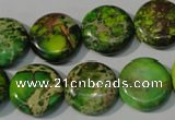 CDI937 15.5 inches 16mm flat round dyed imperial jasper beads