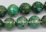 CDI98 16 inches 14mm faceted round dyed imperial jasper beads wholesale