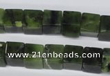 CDJ111 15.5 inches 10*10mm cube Canadian jade beads wholesale