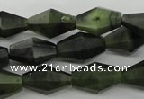 CDJ147 15.5 inches 8*12mm faceted bicone Canadian jade beads wholesale