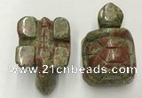 CDN459 38*55*28mm turtle unakite decorations wholesale