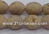 CDQ622 8 inches 10*12mm rice druzy quartz beads wholesale