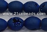 CDQ628 8 inches 10*12mm rice druzy quartz beads wholesale