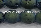 CDQ640 8 inches 12*14mm rice druzy quartz beads wholesale