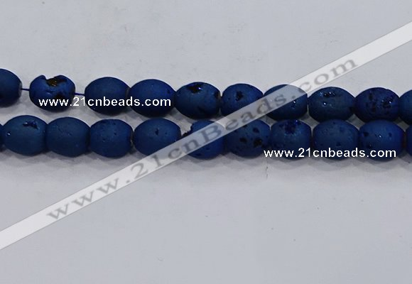 CDQ642 8 inches 12*14mm rice druzy quartz beads wholesale