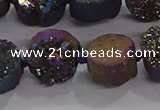 CDQ705 8 inches 12mm coin druzy quartz beads wholesale