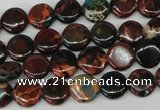 CDS198 15.5 inches 10mm flat round dyed serpentine jasper beads