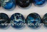 CDT222 15.5 inches 20mm round dyed aqua terra jasper beads