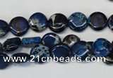CDT230 15.5 inches 10mm flat round dyed aqua terra jasper beads