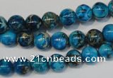 CDT266 15.5 inches 8mm round dyed aqua terra jasper beads