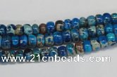 CDT274 15.5 inches 4*6mm rondelle dyed aqua terra jasper beads