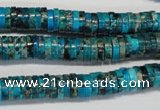 CDT276 15.5 inches 2*8mm heishi dyed aqua terra jasper beads