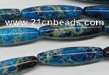 CDT291 15.5 inches 8*30mm rice dyed aqua terra jasper beads