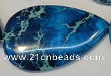 CDT328 15.5 inches 30*50mm flat teardrop dyed aqua terra jasper beads