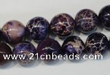 CDT364 15.5 inches 12mm round dyed aqua terra jasper beads