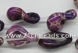 CDT42 15.5 inches 15*24mm petal shaped dyed aqua terra jasper beads