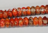 CDT501 15.5 inches 6*10mm rondelle dyed aqua terra jasper beads