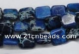 CDT54 15.5 inches 10*10mm square dyed aqua terra jasper beads