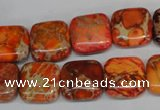 CDT540 15.5 inches 14*14mm square dyed aqua terra jasper beads