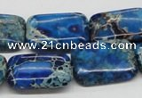 CDT56 15.5 inches 18*25mm rectangle dyed aqua terra jasper beads