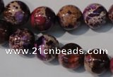 CDT697 15.5 inches 12mm round dyed aqua terra jasper beads