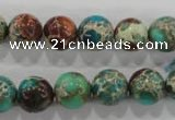 CDT804 15.5 inches 11mm round dyed aqua terra jasper beads wholesale