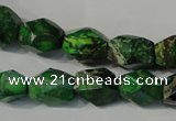 CDT963 15.5 inches 10*14mm faceted nuggets dyed aqua terra jasper beads