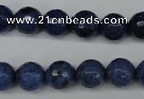 CDU113 15.5 inches 10mm faceted round blue dumortierite beads