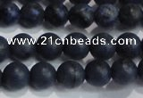 CDU202 15.5 inches 8mm round matte blue dumortierite beads