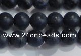 CDU203 15.5 inches 10mm round matte blue dumortierite beads