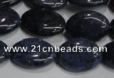 CDU212 15.5 inches 13*18mm oval matte blue dumortierite beads