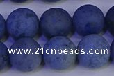 CDU305 15.5 inches 14mm round matte blue dumortierite beads