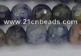 CDU312 15.5 inches 12mm faceted round blue dumortierite beads