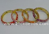 CEB58 9mm width gold plated alloy with enamel bangles wholesale