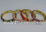CEB61 9mm width gold plated alloy with enamel bangles wholesale