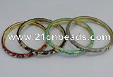 CEB82 6mm width gold plated alloy with enamel bangles wholesale