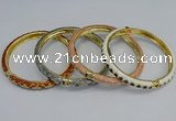 CEB87 7mm width gold plated alloy with enamel bangles wholesale