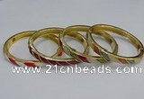 CEB93 7mm width gold plated alloy with enamel bangles wholesale