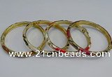 CEB98 6mm width gold plated alloy with enamel bangles wholesale