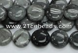CEE12 15.5 inches 14mm flat round eagle eye jasper beads wholesale