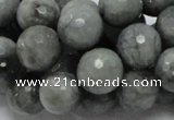 CEE23 15.5 inches 14mm faceted round eagle eye jasper beads wholesale