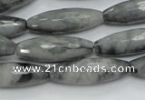 CEE31 15.5 inches 10*30mm faceted rice eagle eye jasper beads