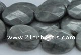 CEE43 15.5 inches 18*25mm faceted oval eagle eye jasper beads