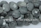 CEE57 15.5 inches 10mm faceted coin eagle eye jasper beads