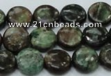 CEM03 15.5 inches 12mm flat round emerald gemstone beads wholesale